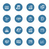 Set of Business and Marketing Flat icons. Set of Business and Marketing Icons as CRM, Store Analytics, Landing Page, Business Goals. Confirmation Letter vector illustration