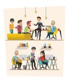 Set of Business meeting. Teamwork shared working set B. Set of Business meeting. Teamwork shared working. Vector design Stock Image