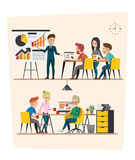 Set of Business meeting. Teamwork shared working set C. Set of Business meeting. Teamwork shared working. Vector design C Royalty Free Stock Image
