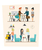 Set of Business meeting. Teamwork shared working. set A. Set of Business meeting. Teamwork shared working. Vector design Royalty Free Stock Images