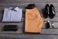 Set of business men's clothing. Set of business men's clothing and accessories Stock Photography
