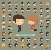 Set of 50 business men and women Royalty Free Stock Photography