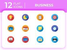 Set of 12 business modern flat icons for website, mobile apps. Presentation stock illustration