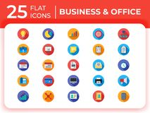 Set of 25 business modern flat icons, flat business vector icons for website, mobile apps, presentation. Set of 25 business modern flat icons for website, mobile stock illustration