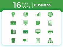 Set of 16 business modern flat icons, flat business icons for website, mobile apps, presentation vector illustration