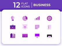 Set of 12 business modern flat icons for website, flat business icons purple color. Set of 12 business modern flat icons for website, mobile apps, presentation vector illustration