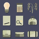 Set of Business Objects. In a flat design Royalty Free Stock Images