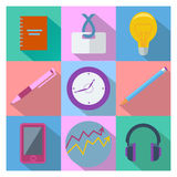 Set of 9 business and office equipment icons Royalty Free Stock Photo