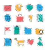 Set of business office flat hand-drawn icons isolated on white stock illustration