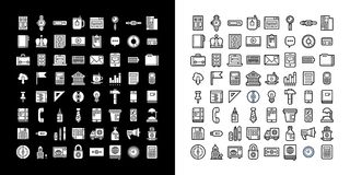 Set of business and office icons. Black and white color scheme. Set of business and office icons. Black and white colors Royalty Free Stock Photography