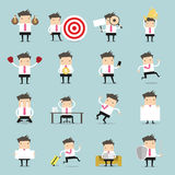 Set of business people. Businessman is in different situations. Vector illustration Royalty Free Stock Photography