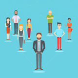 Set of business people. Collection of diverse characters connected in network in flat cartoon style, vector illustration Stock Photos
