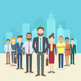 Set of business people. Collection of diverse characters in flat cartoon style on the city background, vector illustration Royalty Free Stock Photography