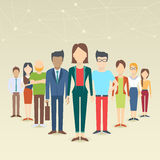 Set of business people. Collection of diverse characters in flat cartoon style, vector illustration Stock Images