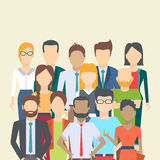 Set of business people. Collection of diverse characters in flat cartoon style, vector illustration Stock Photography
