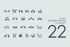 Set of business people conflict icons Stock Image