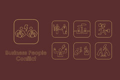Set of business people conflict simple icons Stock Images