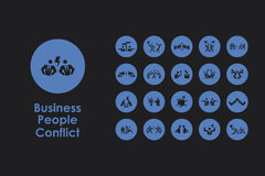 Set of business people conflict simple icons Stock Image