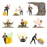 Set of business people extracting cryptocurrency, golden bitcoins. Mining farm. Virtual money and finance theme. Miner Royalty Free Stock Images