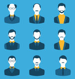 Set business people, front portrait of males isolated on blue ba Stock Images
