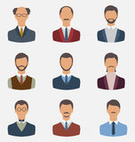 Set business people, front portrait of males isolated on white b Royalty Free Stock Photography