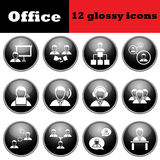 Set of business people glossy icons Royalty Free Stock Photos