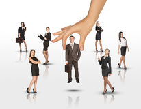 Set of business people with huge arm on white Royalty Free Stock Image