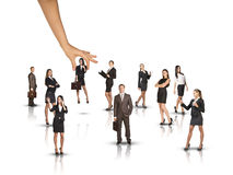 Set of business people with huge hand on white Stock Photos