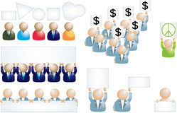 Set of business people icons with banner. Over white Royalty Free Stock Image