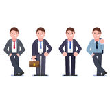 Set of business people isolated on white. Collection of men, dressed in business style. Business men smile. Formal suit, tie, different poses of man. Vector Stock Images