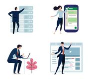 Set of business people or office workers, man and woman, in various characters and activities, simple design. big smart Royalty Free Stock Photo