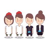 Set of business people or office workers with name tag ID and artist designer painter, man and woman, in various vector illustration