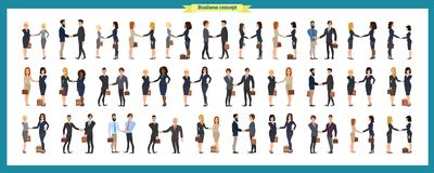 Set of business people and situations. Presentation, agreement, a handshake, teamwork. royalty free illustration