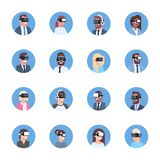 Set Of Business People Wearing Modern 3d Glasses Icons Virtual Reality Headset Concept. Flat Vector Illustration Stock Images