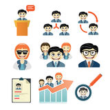 9 set business peoples flat icons Stock Photography