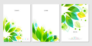 Set of business posters with abstract leaf. Set of modern business posters with abstract green leaf on white bachground. Design for banners, posters, brochures Stock Image