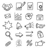 Set of 20 business related icons. Various business related icons, like shaking hands, signed papers and envelope, diagram and notification elements Royalty Free Stock Images