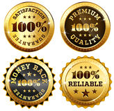 Set of 4 business seals in gold and black. 100% satisfaction guarantee, Money back, Premium quality and reliability labels Stock Illustration
