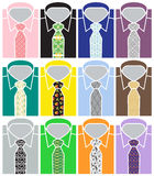 Set of Business Shirts and Pattern Ties Stock Image
