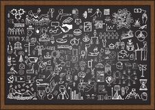 Set of business situation doodles on chalkboard. Stock Images