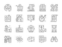 Set of Business Strategy Line Icons. Hourglass, Algorithm, Certificate and more. stock illustration
