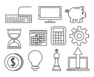 Set of business and technology icons. In black and white vector illustration graphic design vector illustration