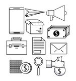 Set of business and technology icons. In black and white vector illustration graphic design stock illustration