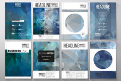 Set of business templates for brochure, flyer or booklet. Abstract blue polygonal background, colorful backdrop, modern. Stylish vector texture Stock Photography