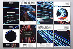 Set of business templates for brochure, flyer or booklet. Abstract lines background, motion design vector illustration Royalty Free Stock Image