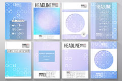 Set of business templates for brochure, flyer or booklet. Abstract white circles on light blue background, vector Royalty Free Stock Photos