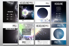 Set of business templates for brochure, flyer or booklet. Electric lighting effect. Stock Photography