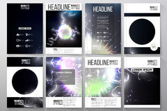 Set of business templates for brochure, flyer or booklet. Electric lighting effect. Magic vector background  Royalty Free Stock Photo