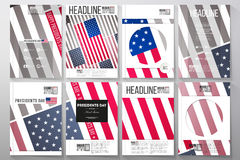 Set of business templates for brochure, flyer or booklet. Presidents day background with american flag, abstract vector Stock Photos