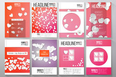 Set of business templates for brochure, flyer or booklet. White paper hearts, red vector background, Valentines day Royalty Free Stock Images